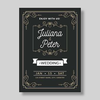 Красивое ретро свадебное приглашение