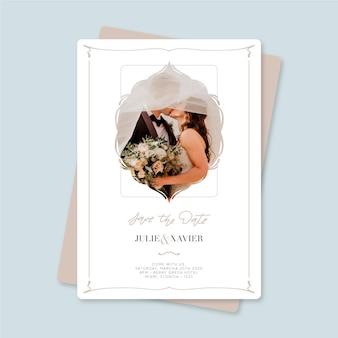 結婚式は写真で日付の招待状を保存します