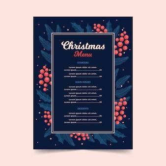 フラットなデザインのクリスマスメニューテンプレート