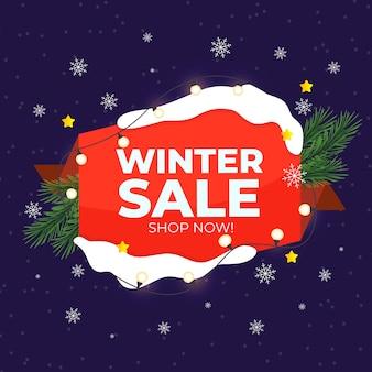 Плоская зимняя распродажа с гирляндами и сосновыми листьями