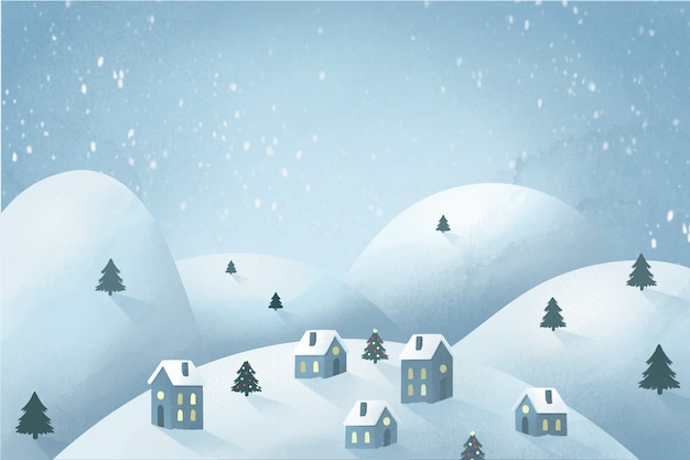 水彩でクリスマスタウンコンセプト