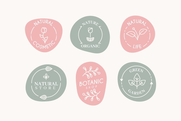 Маркетинговая коллекция логотипов в пастельных тонах