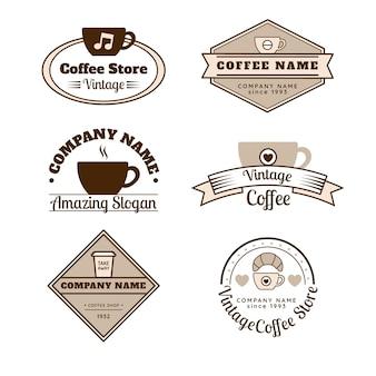 コーヒー店のレトロなロゴのコレクション