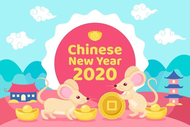 Красочный китайский новый год в плоском дизайне