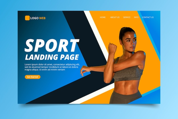 Спортивная посадочная страница с фото