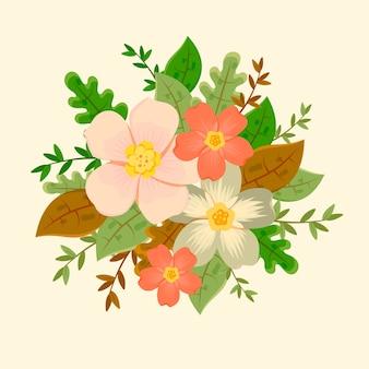 ビンテージ花の花束イラスト