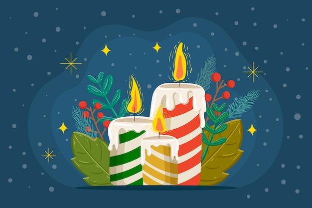 クリスマスキャンドルの手描きの背景