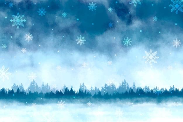 水彩の冬景色の背景