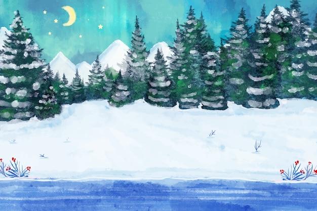 雪に覆われた冬の風景