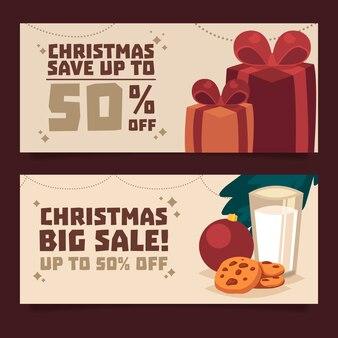 Плоский дизайн рождественские продажи баннеров коллекции