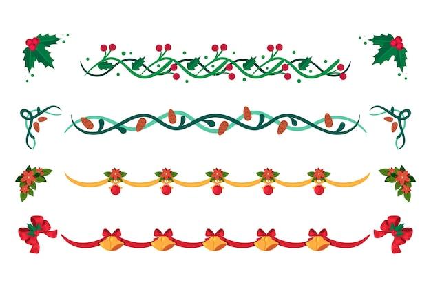 Плоская рождественская коллекция рамок и бордюров