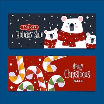Плоский дизайн баннеров рождественская распродажа коллекции