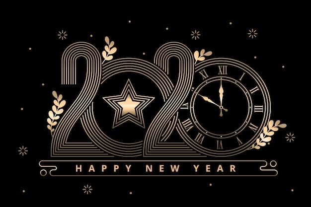 アウトラインスタイルの新年の背景