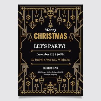 Рождественская вечеринка флаер шаблон в стиле структуры