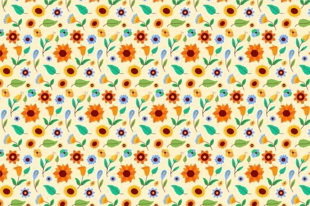 繰り返し花パターン背景