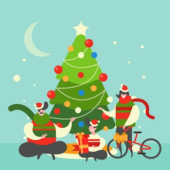 クリスマスの家族のシーンのイラスト