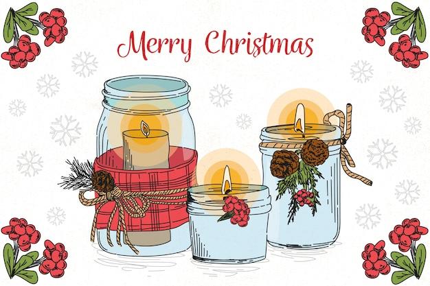 手描きのクリスマスキャンドルの背景