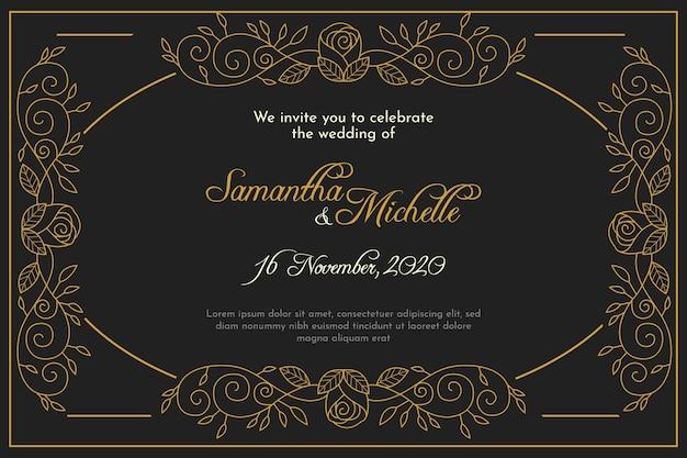 結婚式の招待状テンプレートレトロスタイル