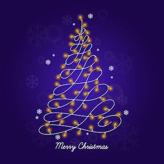電球で作られたクリスマスツリーのコンセプト