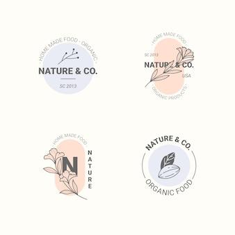 Коллекция логотипов натурального бизнеса в минималистском стиле