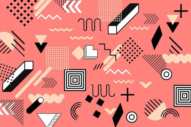 メンフィススタイルの平らな幾何学的図形の背景