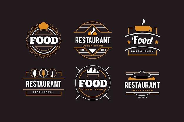 黄金のレトロなレストランのロゴのコレクション