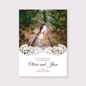 写真付きテンプレート結婚式招待状