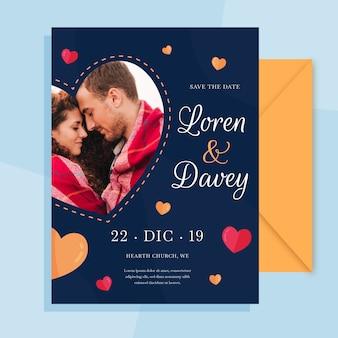 写真付きの日付の結婚式の招待状を保存
