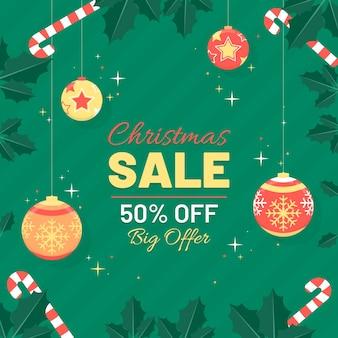 Рождественские продажи баннеров плоский дизайн