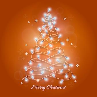 電球のイラストで作られたクリスマスツリー
