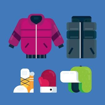 Плоский дизайн зимней одежды