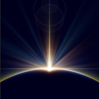 輝く地球の日の出の光の効果