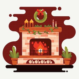 Рождественская сцена камина в плоском дизайне