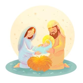 水彩キリスト降誕シーンイラスト