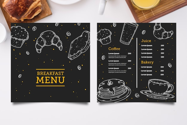Нарисованный рукой шаблон меню завтрака
