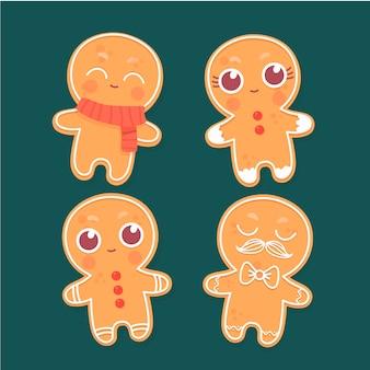 手描きのジンジャーブレッド人のクッキーコレクション