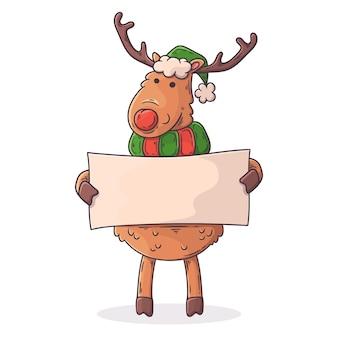 手描きクリスマス文字トナカイ空白のバナーを保持
