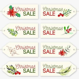 Рождественская коллекция тегов продажа в акварели