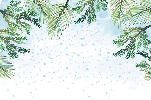 背景水彩画のクリスマスツリーの枝