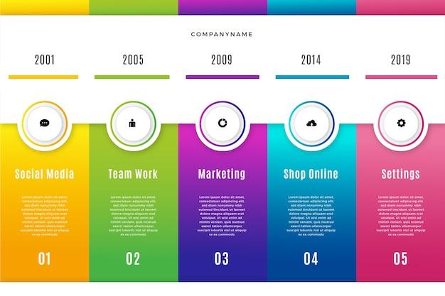 Плоские инфографики шаги красочный дизайн