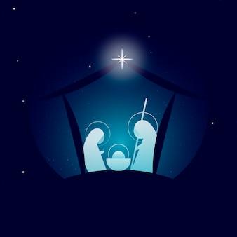 星と抽象的なキリスト降誕のシーン