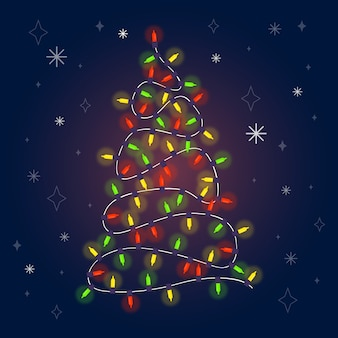 電球で作られたクリスマスツリー