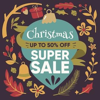Рождественская супер распродажа в плоском дизайне