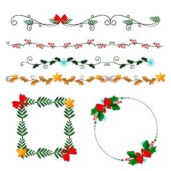 Рождественские плоские рамки и бордюры
