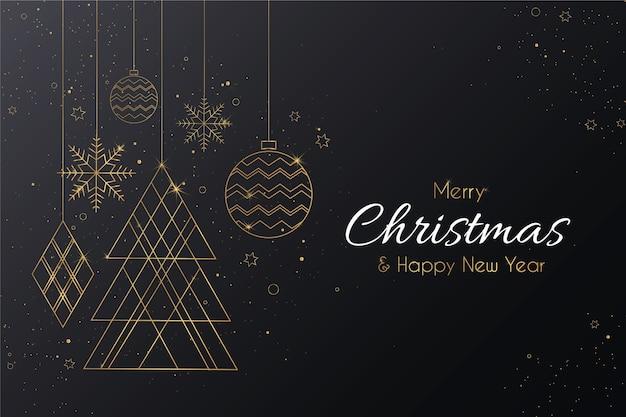 黄金の装飾品でエレガントなメリークリスマス