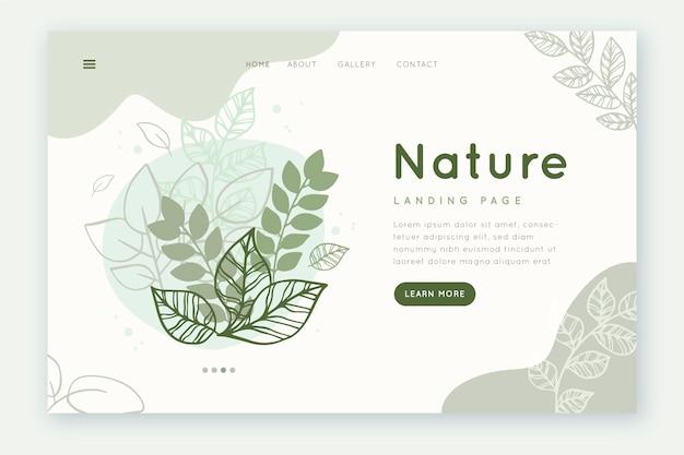 テンプレートの手描きの自然のランディングページ