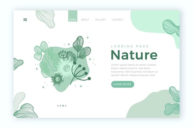 自然の手描きのランディングページテンプレート