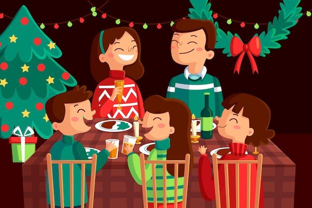 フラットなデザインのクリスマス家族のシーン