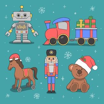 Нарисованная рукой рождественская коллекция игрушек