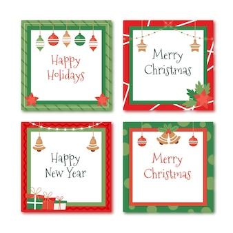 Плоские рождественские рамки и бордюры
